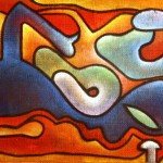 'swimmers' 1997  oil on hessian SOLD