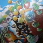 """""""Hypnogogic Illusion 7""""        Acrylic on board"""